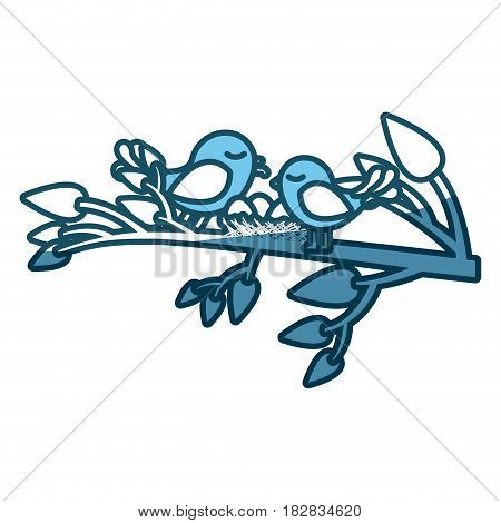 blue silhouette of birds and nest in tree branch vector illustration