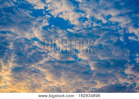 image of blue sky and white cloud on day time for background usage.(horizontal)