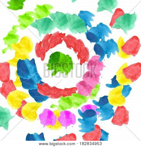 Raster round pattern with colorred watercolors blobs on white background.