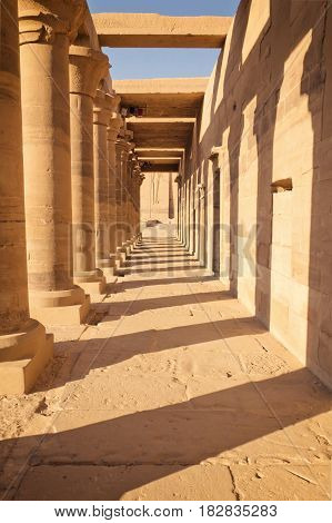 Colonnade of ancient Egyptian columns at Philae Temple (near Aswan Egypt)
