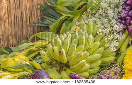 Thai Namwa banana with flower background . poster