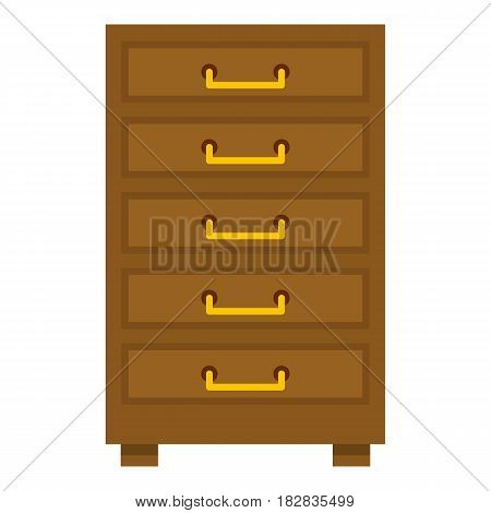 Wooden cabinet with drawers icon flat isolated on white background vector illustration