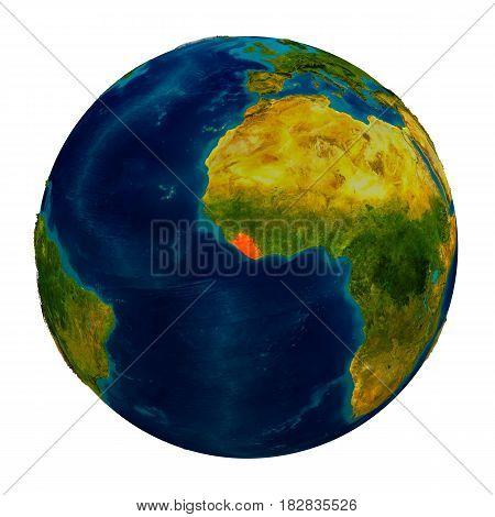 Liberia Highlighted On Globe
