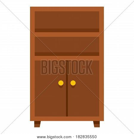 Wooden cabinet icon flat isolated on white background vector illustration