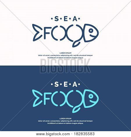 Modern conceptual set of vector logos sea food with fish. Illustration in a minimalist linear style