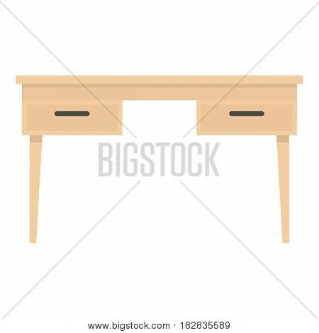 Wooden table icon flat isolated on white background vector illustration