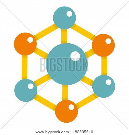 Colorful chemical and physical atoms molecules icon flat isolated on white background vector illustration