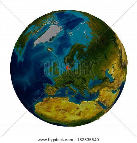 Denmark Highlighted On Globe