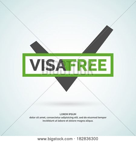 Vector modern poster free visa. Illustration in a simple linear style on white background