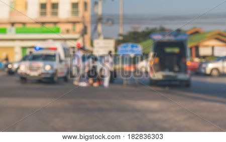 Blur Image Of Accident On The Road .