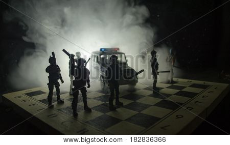 Anti-riot Police Give Signal To Be Ready. Government Power Concept. Police On Chessboard. Smoke On A