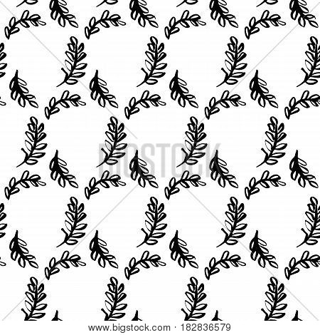 Spring Leaf Brush Seamless Pattern. Vector Illustration of Nature Plant Tileable Background.