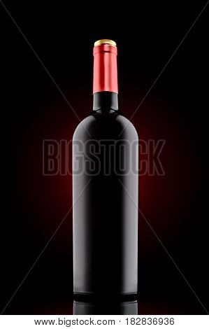 Red wine bottle with red cap at the black backround with red spotlight