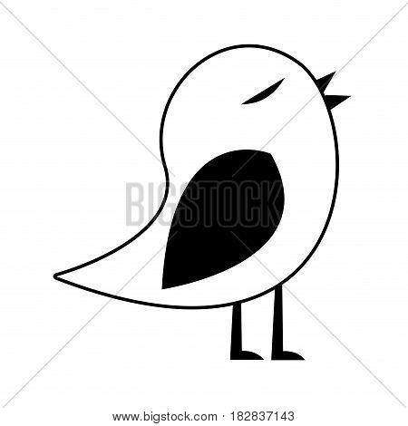 black silhouette of bird singing vector illustration
