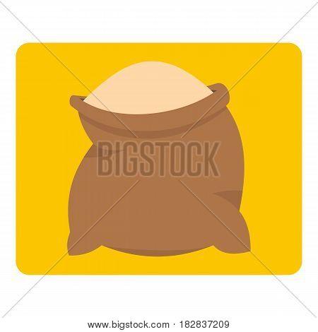 Linen sack full of flour icon flat isolated on white background vector illustration