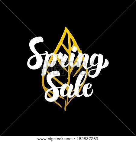 Spring Sale Handwritten Calligraphy. Vector Illustration of Lettering Nature Design Element.