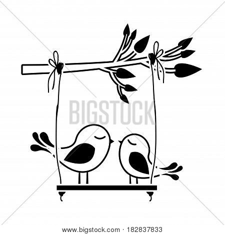 black silhouette of tree branch with swing and couple of birds vector illustration