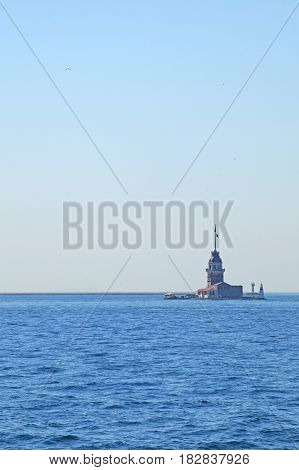 The ship swims to the sea lighthouse at the entrance to the Bosphorus