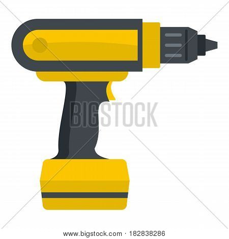 Yellow electric screwdriver drill icon flat isolated on white background vector illustration
