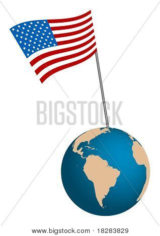 USA Flag with globe on white background