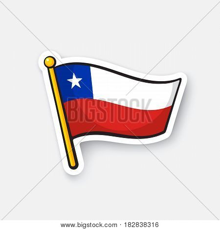 Vector illustration. National flag of Chile. Location symbol for travelers. Cartoon sticker with contour. Decoration for greeting cards, posters, patches, prints for clothes, badges, emblems