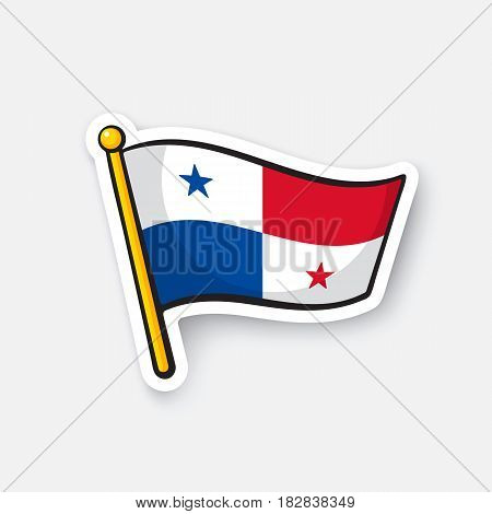 Vector illustration. National flag of Panama. Location symbol for travelers. Cartoon sticker with contour. Decoration for greeting cards, posters, patches, prints for clothes, badges, emblems