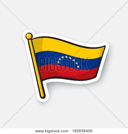 Vector illustration. National flag of Venezuela. Location symbol for travelers. Cartoon sticker with contour. Decoration for greeting cards, posters, patches, prints for clothes, badges, emblems