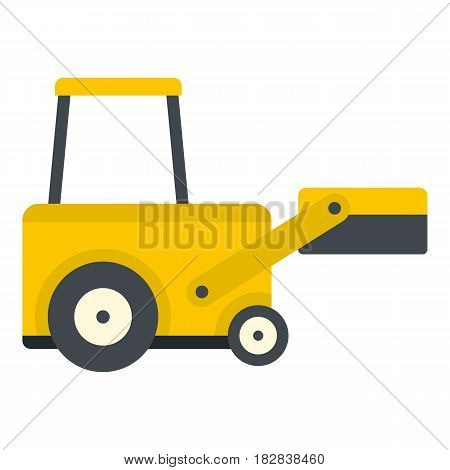 Yellow truck to lift cargo icon flat isolated on white background vector illustration