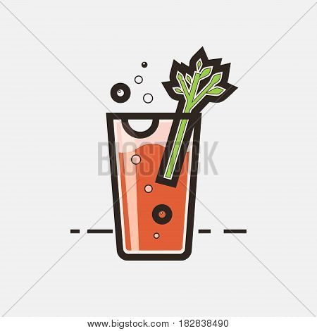 Cocktail Bloody Mary vector concept. Element made in flat style for menu posters brochures for cafe bar or restaurant.