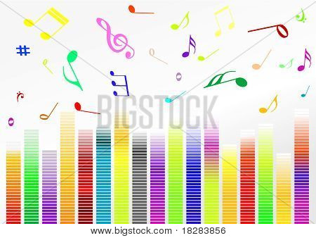 Abstract illustration with volume bars and music notes poster