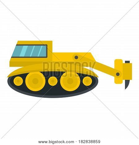 Excavator with hydraulic hammer icon flat isolated on white background vector illustration
