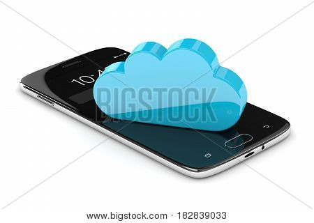 3D Render Of Mobile Phone With Cloud Over White