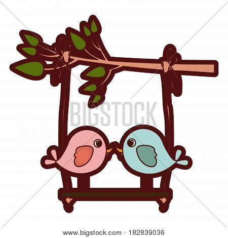 colorful thick silhouette of tree branch with swing and couple of birds in closeup vector illustration