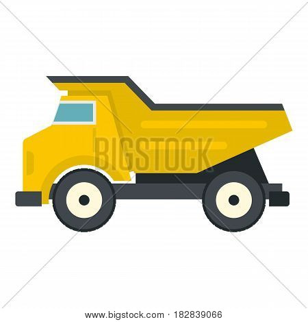 Yellow dump truck icon flat isolated on white background vector illustration
