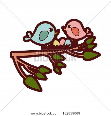 colorful thick silhouette of birds and nest in tree branch in closeup vector illustration