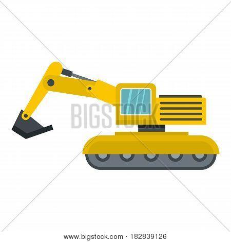 Excavator icon flat isolated on white background vector illustration