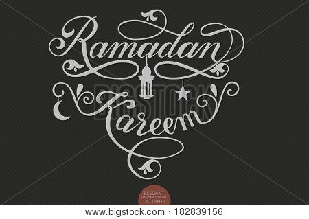 Vector elegant lettering Ramadan Kareem. Muslim holy month illustration with calligraphy, star, crescent moon and mosque. Ramazan holiday.