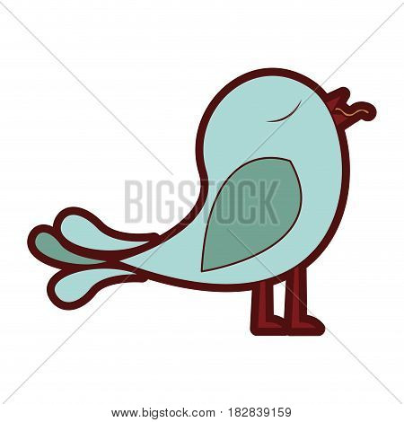 colorful thick silhouette of bird with worm in the peak vector illustration