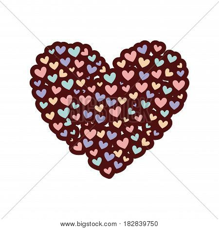 colorful thick silhouette of many hearts forming a big heart vector illustration