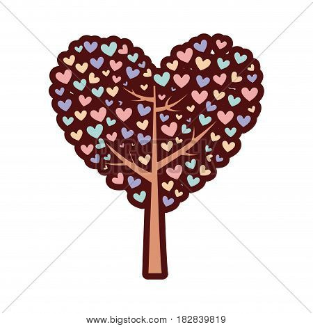 colorful thick silhouette of tree with leaves in shape of heart vector illustration