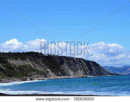 Azkorri beach in summer, Vizcaya, Spain, Europe