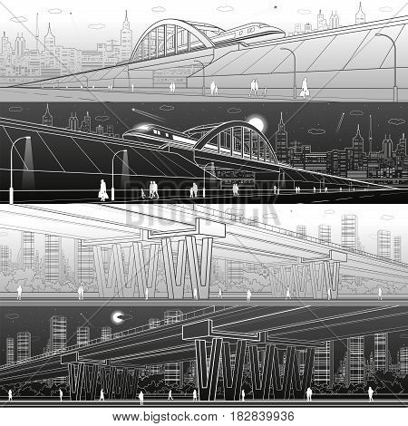 Urban infrastructure panorama. Train move on railway bridge, transport overpass, modern city on background, industrial architecture, towers and skyscrapers, people walking. Vector design art