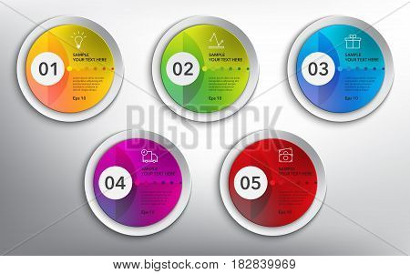 Abstract info graphic circle design elements. 5 parts concept. Isolated on the white panel. Use for business concept, website layout, numbered banners, diagram... Vector illustration. Eps 10.