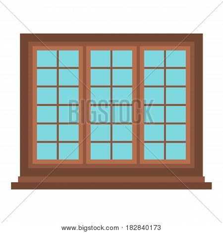 Wooden brown tricuspid window icon flat isolated on white background vector illustration