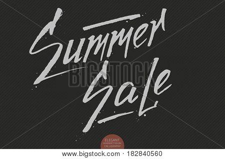 Hand drawn lettering - Summer sale. Elegant modern handwritten calligraphy. Vector Ink illustration. Typography poster on dark background. For cards, invitations, prints etc.