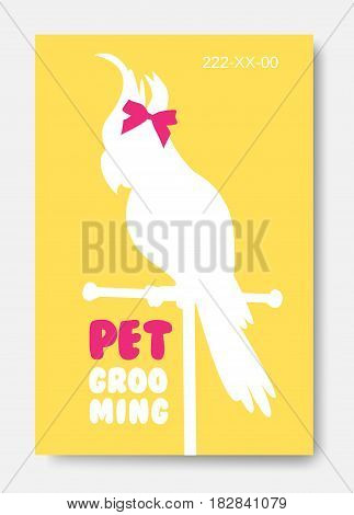 Banner with parrot silhouette. Business card design template. Animals hair salon logo
