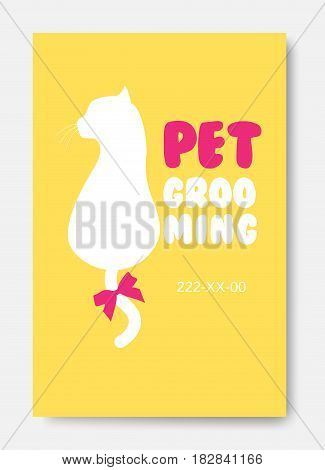 Poster with cat silhouette. Pet grooming logo. Animals hair salon logo