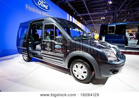 Moscow, Russia - August 25: Blue Lorry Car Ford Transit Connect On Display At Moscow International E
