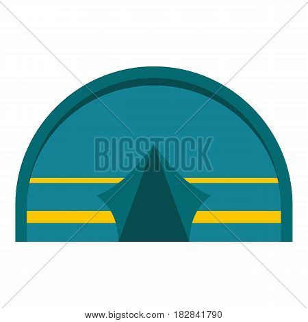 Blue touristic camping tent icon flat isolated on white background vector illustration