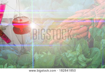 Double Exposure Image Of Vegetable And Laboratory.